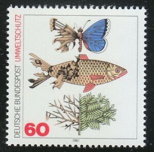 Germany 1981 MNH Mi 1087 Sc 1346 Preservation of Nature.Fish & butterfly **