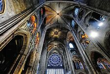 Notre Dame Cathedral Postcard, Rosette Window Interior Roof Paris, France 90O