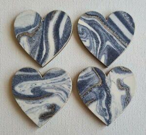 Handmade Set of 4 Wooden Heart Fridge Magnets Blue Glitter Marble Effect Print