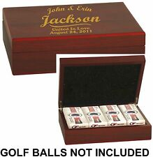 Rosewood Golf Ball Gift Box Custom Engraved Lid Personalized Wedding Groomsmen