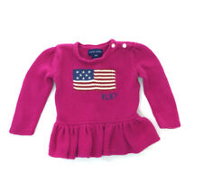 12 Month girl Ralph Lauren Pink Preowned  Sweater With American Flag Rn 41381