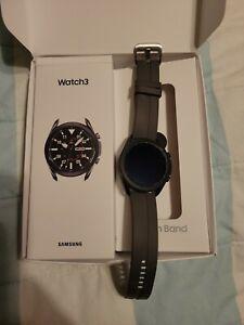 Samsung galaxy watch 3 45mm mystic black with Grey ridge silicone band