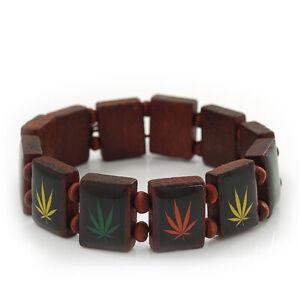 Brown Wooden 'Hemp Leaf' Stretch Bracelet - Adjustable