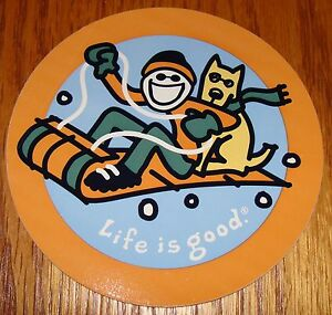 """Life is Good Sticker 4"""" Round Jake and Rocket on Sled Blue/Orange/Green/Yellow"""