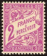 Andorra, French Administration Scott #J19 VF Unused 1941 2 F Postage Due
