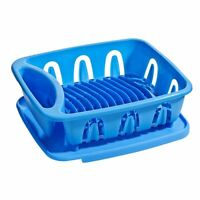 Dish Drainer Rack, Blue Plastic, Removable Drip Tray For Kitchen