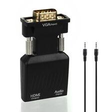 VGA Stecker auf zu HDMI Buchse Konverter Adapter mit Audio Kabel 1080P Full HD
