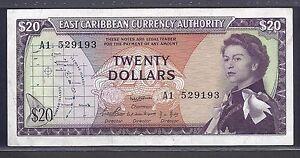 East Caribbean States p-15a , VF, 20 Dollars, 1965 , QEII
