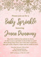 Baby Sprinkle Invitation, Baby Girl, Winter, Snow, Christmas, Pink, Invitation