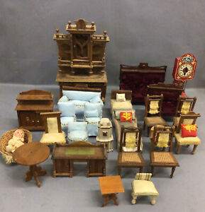 Antique Style Dollhouse Furniture  Lot OF 25 Chairs, Sofas Tables Doll & Basket