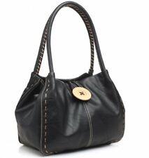 Women's Ladies Big Button Detail Faux Leather Tote Shoulder bag Handbag Black UK