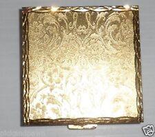 Vintage Viviane Woodard Gold Tone Metal Powder Compact with Mirror