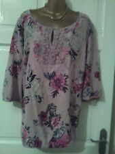 Ladies,size 20.Per Una (M&S) 3/4 sleeve top/tunic.Taupe,pink,black cream floral