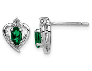 Created Emerald Heart Post Earrings 2/5 Carat (ctw) Sterling Silver