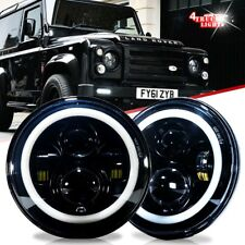 """2x 7"""" Inch Round LED Headlights For Land Rover Defender Headlamps Hi / Lo Beam"""