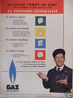 PUBLICITÉ 1958 GAZ DE FRANCE LE CONFORT GÉNÉRALISÉ - ADVERTISING