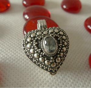 Heart Shaped Locket Pendant 925 Sterling Silver Blue Topaz SilverandSoul