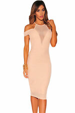Abito Aderente aperto trasparente nudo Scollo Ballo Midi Mesh club Party Dress M
