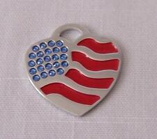 Pet/Dog/Cat ID Tag - American Flag Heart Rhinestones