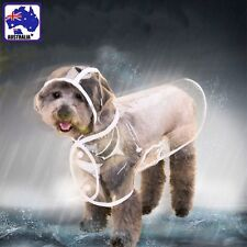 Pet Dog Puppy Rain Coat Clothes Hooded Waterproof Jacket Rainwear Clear PWRA397