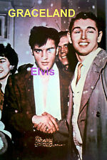 ELVIS PRESLEY WITH FANS AT GRACELAND OUTSIDE SNOWING 1955 PHOTO CANDID