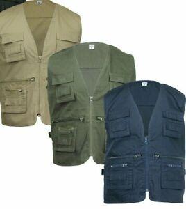 Mens Multi Pocket Workwear Vest Waistcoat Body Warmer Gillet Fisherman Utility