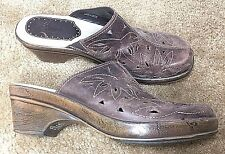 Bass Clog Womens Size 10M Leather Mule Shoes Brown Cut Out Brenda 0821205