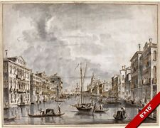 THE GRAND CANAL OF VENICE ITALY WATERCOLOR PAINTING ART REAL CANVAS GICLEEPRINT