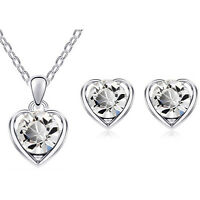 White Crystal Silver Hearts Jewellery Set Stud Earrings & Pendant Necklace S677