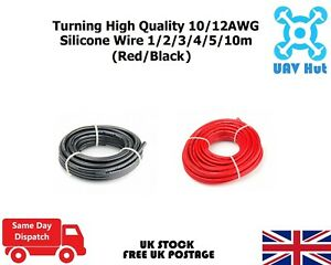 Turning High Quality 10/12AWG Silicone Wire 1/2/3/4/5/10m (Red/Black)