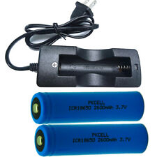2pcs 18650 Rechargeable  Battery 3.7v 2600mAh Button Top + 18650 Charger