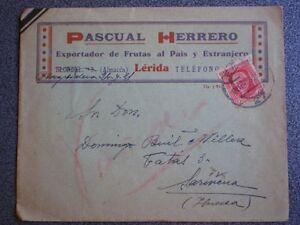 SOBRE PUBLICITARIO LÉRIDA AÑO 1936 EXPORTADOR DE FRUTAS PASCUAL HERRERO