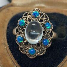Vintage Sterling Silver Ring 925 Size 7 Aquamarine Opal Flower
