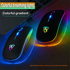 Slim Wireless Mouse Silent 2.4GHz USB Mice Rechargeable RGB For PC Laptop US NEW