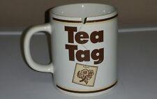 VINTAGE TEA MUG W/ TEA TAG NOTCH SLOT FOR BAG RETRO WHITE BROWN FLORAL 2 SIDED