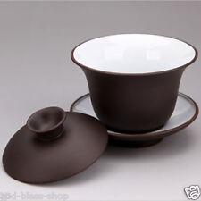Chinese gift shop zisha tea cup high quality gaiwan lid cup saucer tureen purple