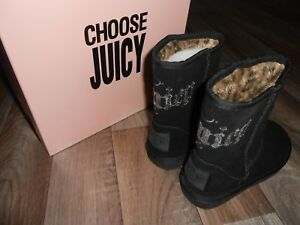 NEW JUICY COUTURE  BLACK SUEDE WITH PEWTER SEQUINS BOOTS UK 11 STUNNING