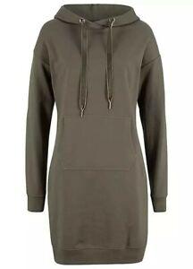 BPC  Khaki Hooded Sweatshirt Dress Kangaroo Pocket Size M 40-42