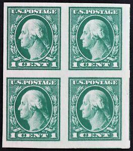 U.S. Mint #408 1c Washington Imperf Block, Superb - Lower Right Stamp 100J. Gem!