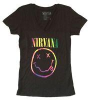 Nirvana Rainbow Smiley Face Girls Juniors Black V Neck T Shirt New Official