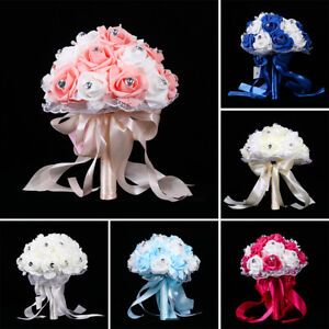 White/&Royal blue Tangbasi Romantic Bridal Bouquet Artificial Foam Rose Bouquet of Flowers for Wedding