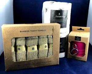 TUSHY ACCESSORIES SET BAMBOO TOWELS & TOILET PAPER, TRAVEL BIDET BRAND NEW