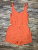 LC Lauren Conrad Women's 8 Embroidered Floral Lace Coral Pink Scoop Tank Romper