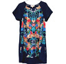 Keepsake The Label Womens Navy Floral Short Sleeve Shift Dress Size M