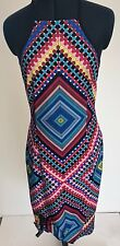 Geometric Blue, Yellow, Red, Pink Halter Dress - New - Size 14