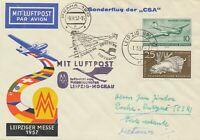 """DDR 1957 Sonderflug der CSA zur Leipziger Frühjahrsmesse """"LEIPZIG - PRAG"""""""