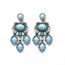 Costume Fashion Earrings Clip on Chandelier Turquoise Blue Jade Baroque Ancien