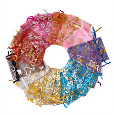 200pcs Drawstring Organza Gify Bags Jewelry Wedding Pouch Party Favor Bags 9x7cm