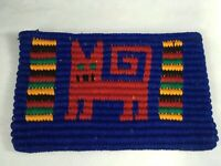 Funky Red & Yellow Cats Hand Woven Guatemalan Purse Pouch Wallet NOS Handmade