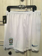 Nike 2018 Brasil CBF Stadium Away Soccer Football Shorts White Mens Size Large